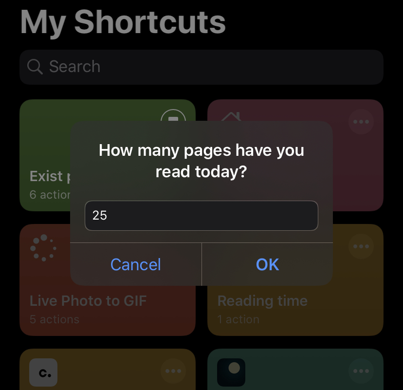 Logging pages read to Exist.io via Shortcuts